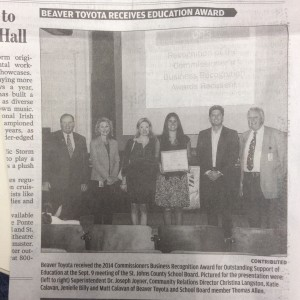 2014 Commissioners Business Recognition Award St Augustine Record Oct2014