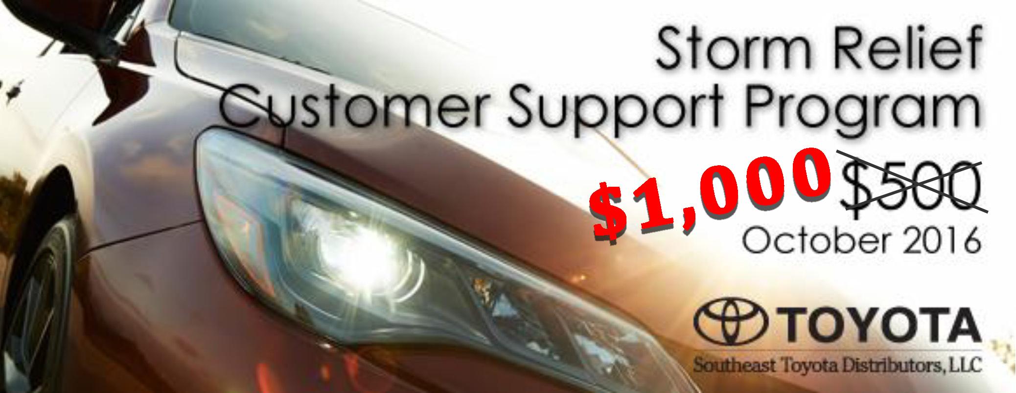 Beaver Toyota Customer 1000 Storm Support Program