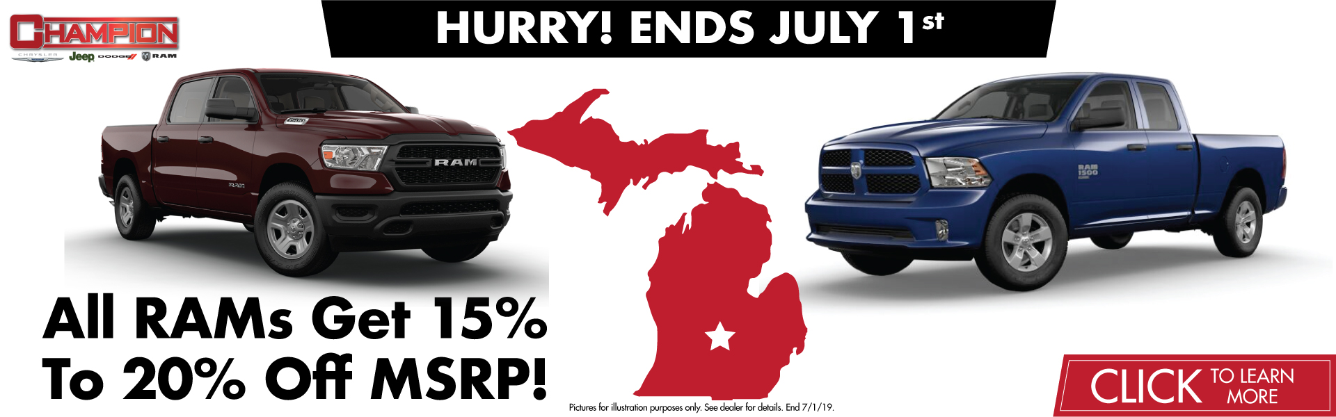 Ends July 1st. 15% off MSRP for 1500LD DS & DT and 20% off for 2019 Ram 1500 LD DT