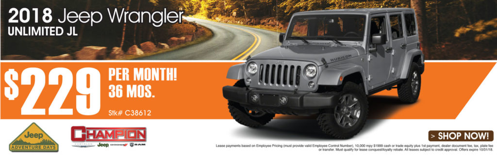 LEASE AN ALL NEW 2018 JEEP WRANGLER UNLIMITED JL FOR AS LOW AS $229 PER  MONTH FOR 36 MONTHS