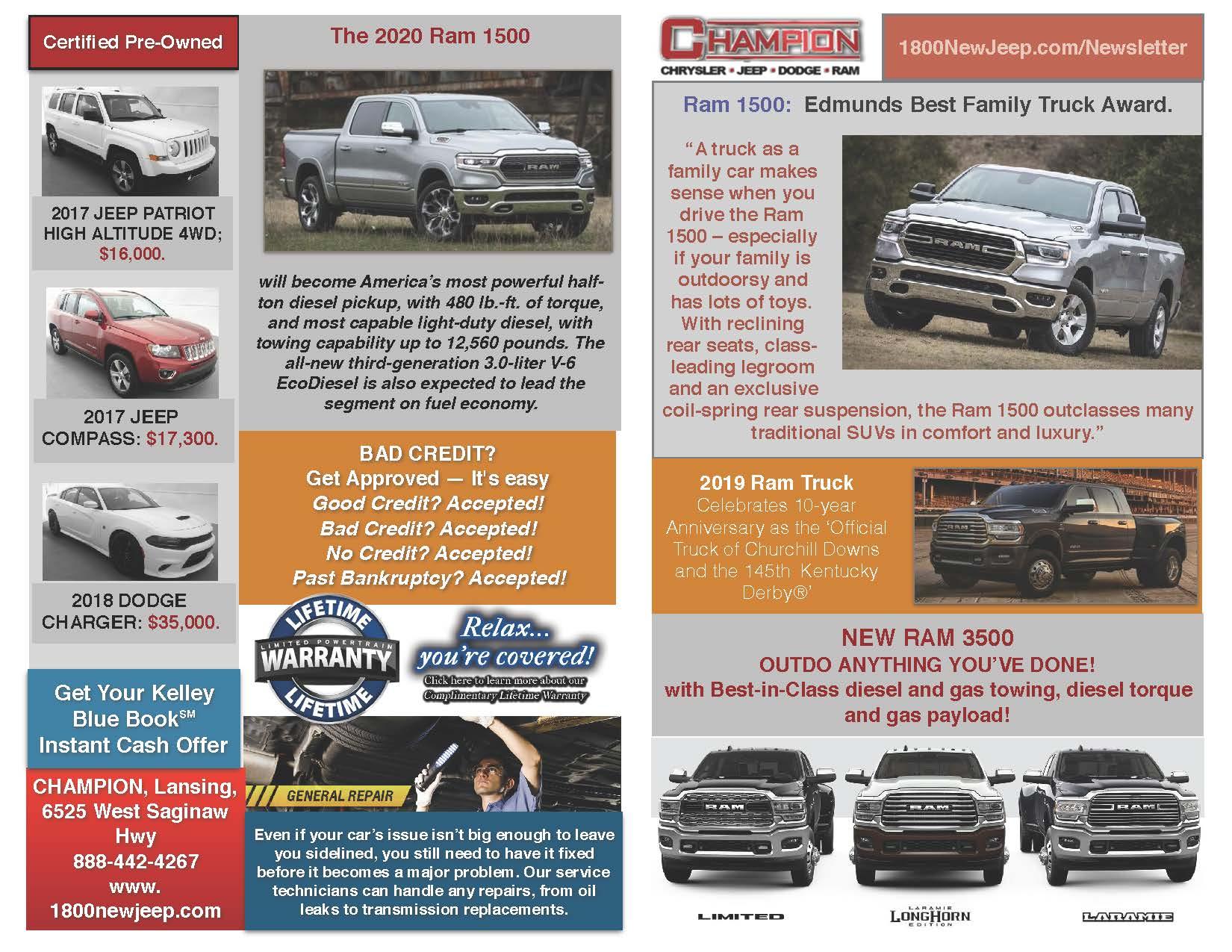 Newsletter Lansing | Champion Chrysler Jeep Dodge Ram