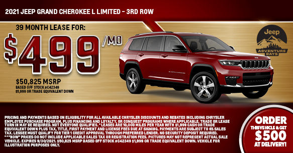 2021 Jeep Grand Cherokee L Limited - Third Row 4x4 Lease Offer