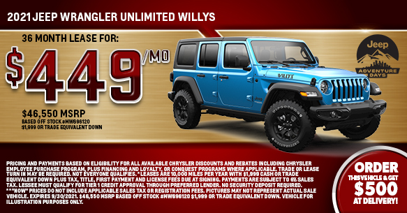 2021 Jeep Wrangler Unlimited Willys Lease Offer