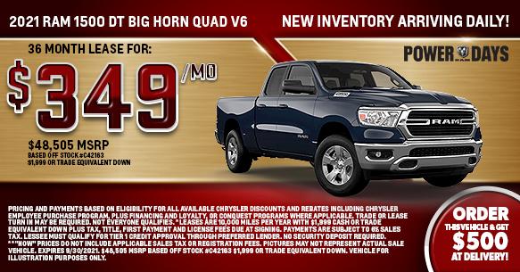 2021 Ram 1500 DT Big Horn Quad V6 Lease Offer
