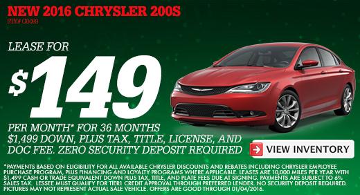 December Specials L Cueter Chrysler L Ann Arbor - Chrysler lease specials michigan