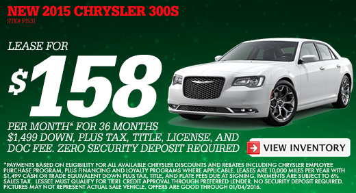Chrysler 300 Lease >> December 2015 Specials L Cueter Chrysler L Ann Arbor