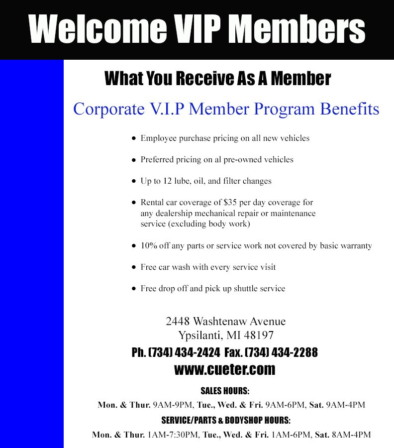Cueter VIP Savings