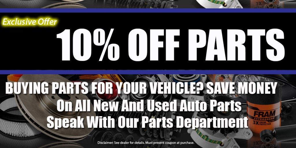 Coupon for discount auto parts and accessories