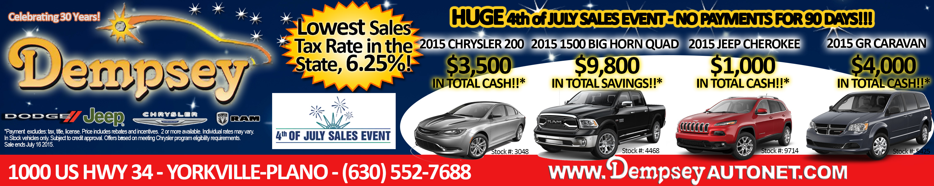 Dempsey TribLocal front page strip - July 2015 - 4th of july sale event