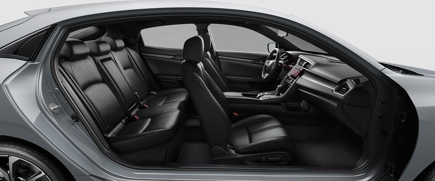 Side view of Honda Civic Hatchback interior