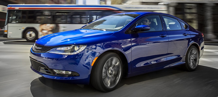 bright blue 2016 Chrysler 200 on the road