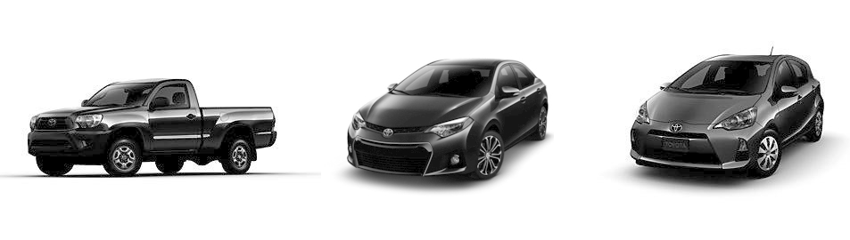 2014 Toyota Tacoma, 2014 Toyota Corolla, 2014 Toyota Prius c (Left to Right)