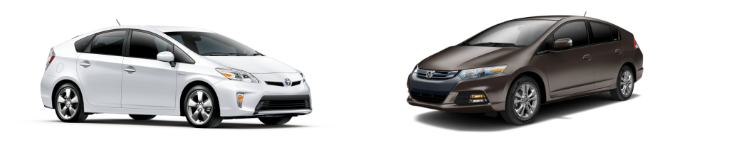 2013 Toyota Prius (L) vs Honda Insight (R)