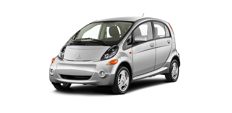 Side Front View of Silver Mitsubishi I-Miev