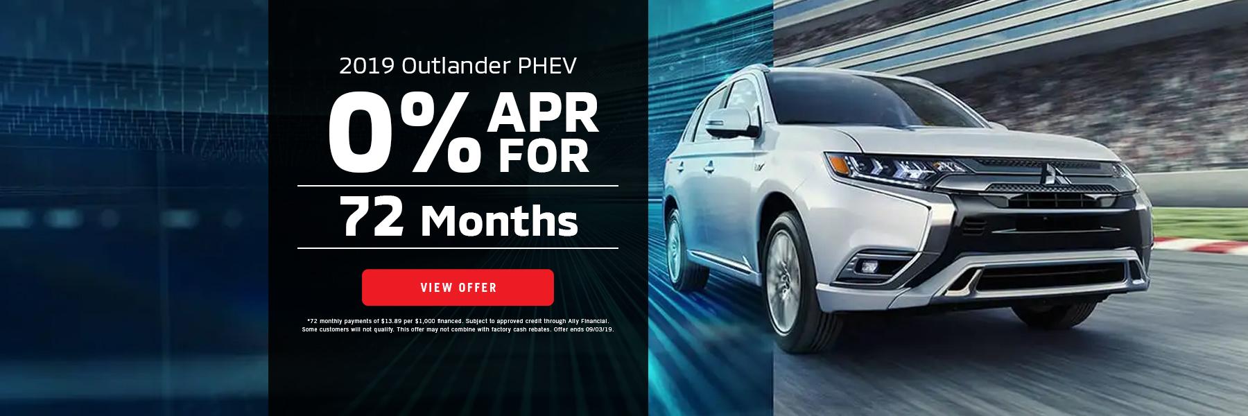 0% APR for 72 Mo. Outlander PHEV