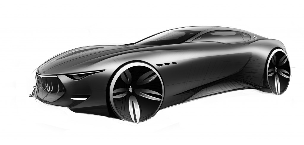 A sketch of the original Maserati Alfieri concept design, which won the 2014 Concept Car of the Year award this April. Photo courtesy of Maserati.