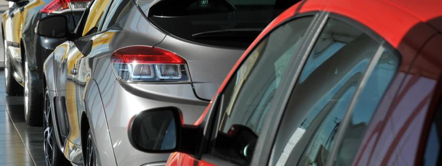 cars in dealership showroom