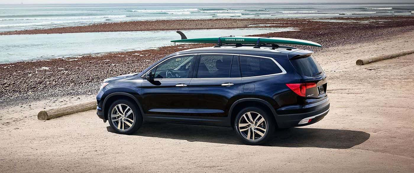 2017 Honda Pilot parked in front of the ocean
