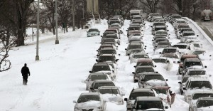 CHICAGO - FEBRUARY 02:  Cars sit in the northbound lanes of Lake Shore Drive after accidents and drifting snow stranded the drivers during last night's blizzard February 2, 2011 in Chicago, Illinois. As of late morning over 20 inches of snow had fallen, making this snowstorm the third largest recorded in the city.  (Photo by Scott Olson/Getty Images)