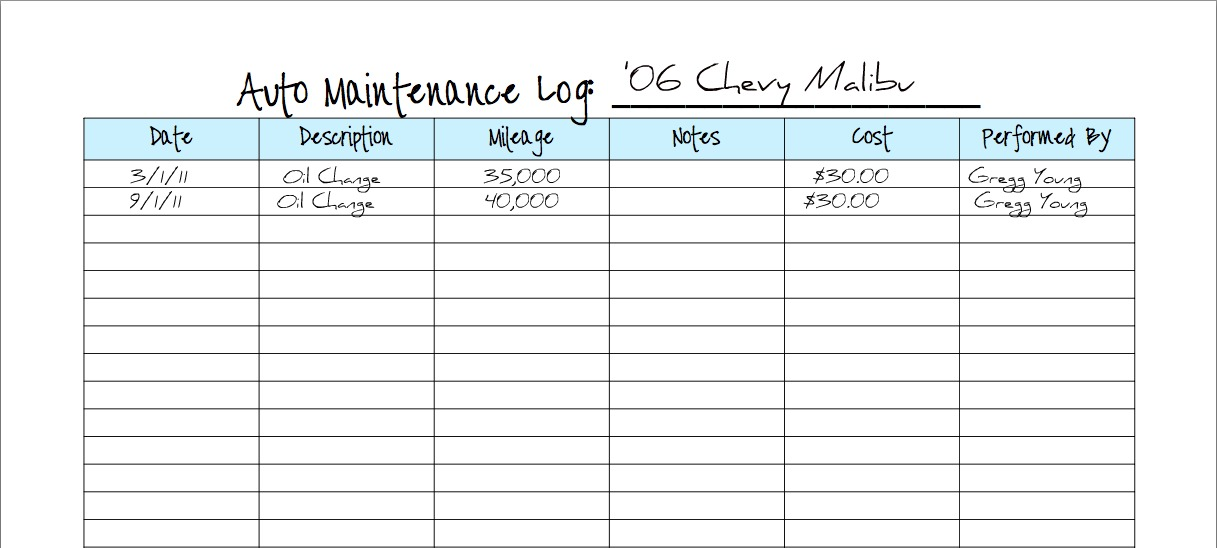 keeping a vehicle maintenance log